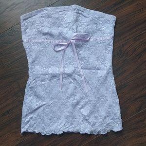 Light lavender lace strapless top